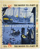 stamp to commemorate the Boston Tea Party as part of the Bicentennial celebration in USA