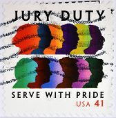 stamp printed in USA dedicated to Jury Duty serve with pride