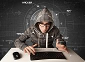 foto of hack  - Young hacker in futuristic enviroment hacking personal information on tech background - JPG