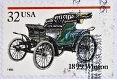 UNITED STATES OF AMERICA - CIRCA 1995: A stamp printed in USA shows a car 1899 Winton
