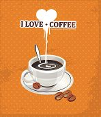 I love caffeine to coffee cup. Vector illustration with heart valentine