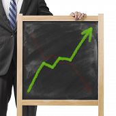 Businessman Hold Dirty Wooden Chalk Board With Going Up Green Trend And Erased Red Going Down Trend