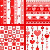 Hearts valentine's day seamless patterns set in red and white, vector