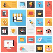 stock photo of currency  - Vector collection of modern flat and colorful shopping icons with long shadow - JPG