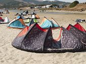 stock photo of tarifa  - Large group of kites at Tarifa - JPG