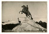 LENINGRAD - CIRCA 1960: Peter the Great Monument, Leningrad (now - St. Petersburg), USSR, 1960
