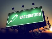 Vaccination - Billboard on the Sunrise Background.
