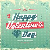 Retro vintage Valentine's day greeting card design eps 10