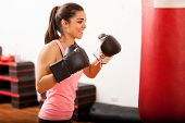 Cute female boxer training in a gym