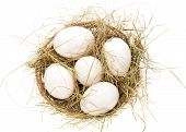 White eggs, hay in a bast basket