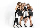 Group of girls looking at shopping