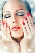 Winter Skin Care. Beautiful Female Face