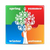 Puzzle With The Image Of Seasons.icon Times Of The Year Isolated On White Background.vector