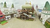 MOSCOW - SEP 19: (view from unmanned quadrocopter) Wooden palace of Kremlin in Izmailovo, on Sep 19,