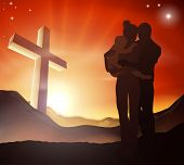 stock photo of holy family  - A Christian family with a cross in a mountain landscape and a sunrise over mountains landscape Christian family life concept - JPG