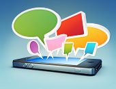 Smartphone with social media chat bubbles