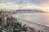 Benidorm on sunrise, Costa Blanca, Spain