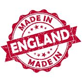 Made In England Red Grunge Seal