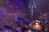 Drum Kit And Microphone On Stage