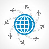 Airplanes flying around the world