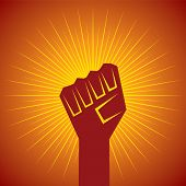 clenched fist held in protest concept