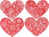 Set Of Hearts Shapes With Hand Drawn Floral Ornaments. Love Concept Forvalentines Day Or Wedding Des