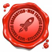 Web Traffic Guaranteed - Stamp on Red Wax Seal.