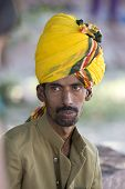 Indian Man With Yellow Turban