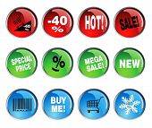 round icon sets for discount prices with text
