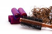 Brown Wooden Hairbrush with Wig and Hair Curler