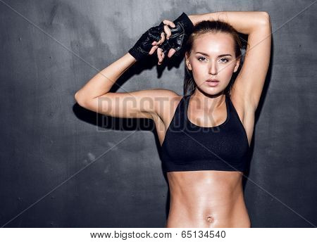 attractive fitness woman, trained female body, lifestyle portrait, caucasian model poster