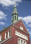 The spire of Blessed Virgin Mary of the Annunciation Parish Church in Williamsburg, Brooklynkl