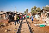NAIROBI, KENYA - FEBRUARY 6, 2014: Review of daily life of local people Kibera slums on February 6,