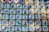 Sake barrels at Meiji-jingu Shrine in Tokyo
