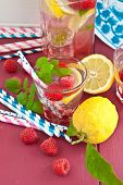 Homemade Lemonade With Raspberries
