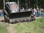 Wroclaw, Poland - May 10. 2014: Bozena-4Nl Carrie Wheeled Remote-control Mine Flail  On Military Sho