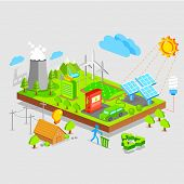 illustration of green earth concept in isometric view
