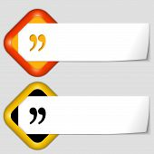 Set Of Two Icons With Paper On Note And Quotation Mark