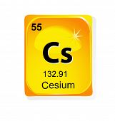 Cesium chemical element with atomic number, symbol and weight