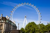LONDON, UK - MAY 14, 2014: London eye is a giant Ferris wheel opened on 31 December 1999, the most f
