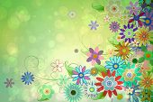 Digitally generated girly floral design in green