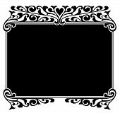 stock photo of scrollwork  - Black and white Victorian pen and ink scrollwork ornament for border or frame - JPG