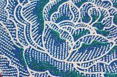 Thai Batik Sarong Of Blue Flower Pattern.
