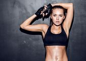 stock photo of stomach  - attractive fitness woman - JPG