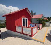 Red beach hut