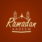 Beautiful greeting card design with mosque and stylish text on maroon background for holy month of muslim community Ramadan Kareem