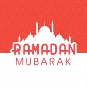 Greeting Card design with white silhouette of mosque and stylish text Ramadan Kareem on pink and white background.