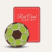 Shiny soccer ball with foul red card on abstract background.