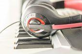 Headphones On Electric Piano Keyboard