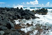 Volcano Rocks On Beach At Hana On Maui Hawaii